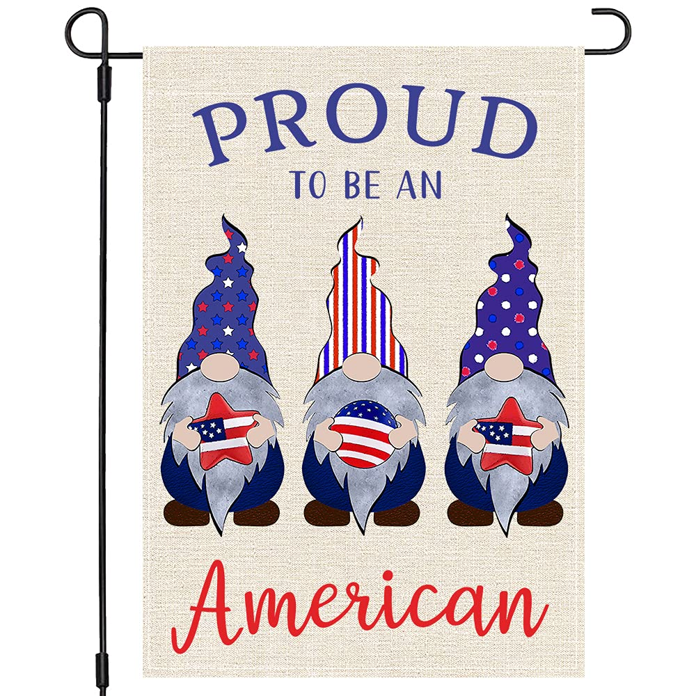 Welcome 4th Fourth of July Gnomes Garden Flag 12x18, Patriotic Gnomes Proud to Be an American