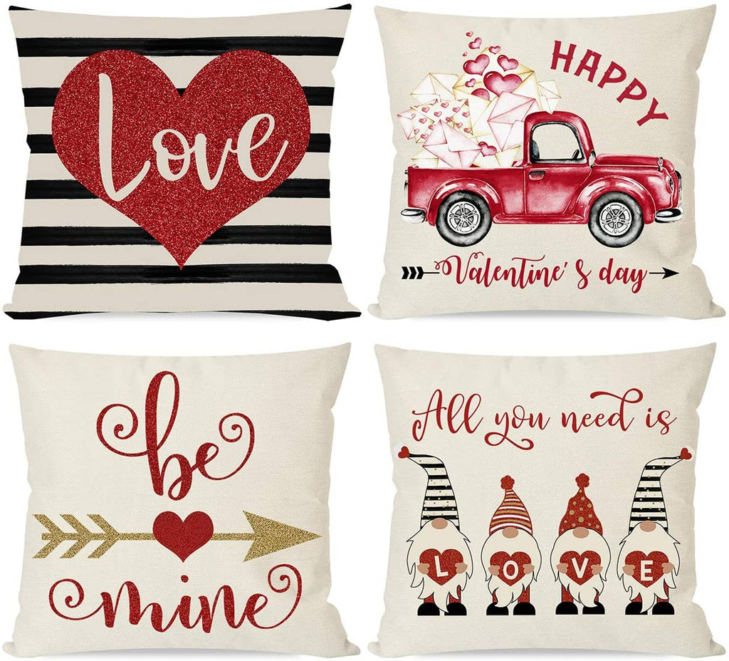 Valentine Pillow Covers 18x18 Set of 4 for Valentines Day Decorations, Black Stripe Red Heart Love Gnome