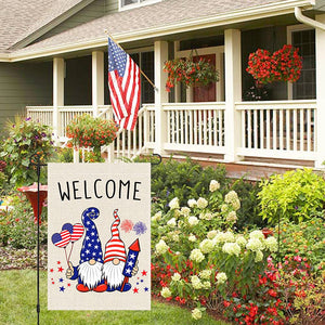 Welcome 4th Fourth of July American Garden Flag 12x18, US Flag Fireworks Gnomes, Stars and Stripes