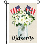 Welcome 4th Fourth of July American Garden Flag 12x18 Double Sided, US Flag Greenery Flower Floral, Stars and Stripes