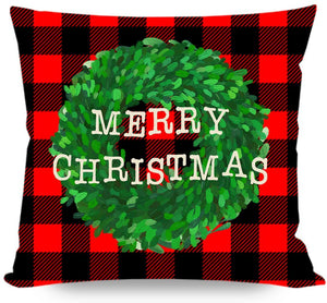 Farmhouse Christmas Pillows Covers 18x18 Set of 4, Black and Red Buffalo Check Plaid Christmas Tree Truck Wreath