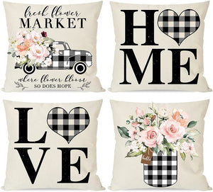 Modern Farmhouse Pillow Covers 18x18 Set of 4, Black Buffalo Plaid Check Home Love Heart Truck Mason Jar, Spring Decor Flower Floral
