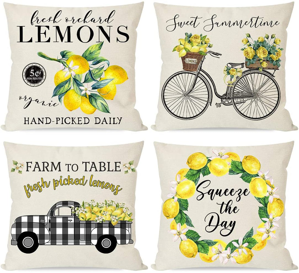 Farmhouse Lemon Pillow Covers for Home Decor, Black Buffalo Plaid Truck Wreath Bicycle, Summer Yellow