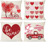 PANDICORN Set of 4 Valentines Day Pillow Covers 18x18, Red Heart Tree Truck, Watercolor Valentines Day Home Outdoor Decorations