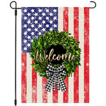 Welcome 4th Fourth of July American Garden Flag 12x18, US Flag Boxwood Wreath Buffalo Plaid Bow, Stars and Stripes