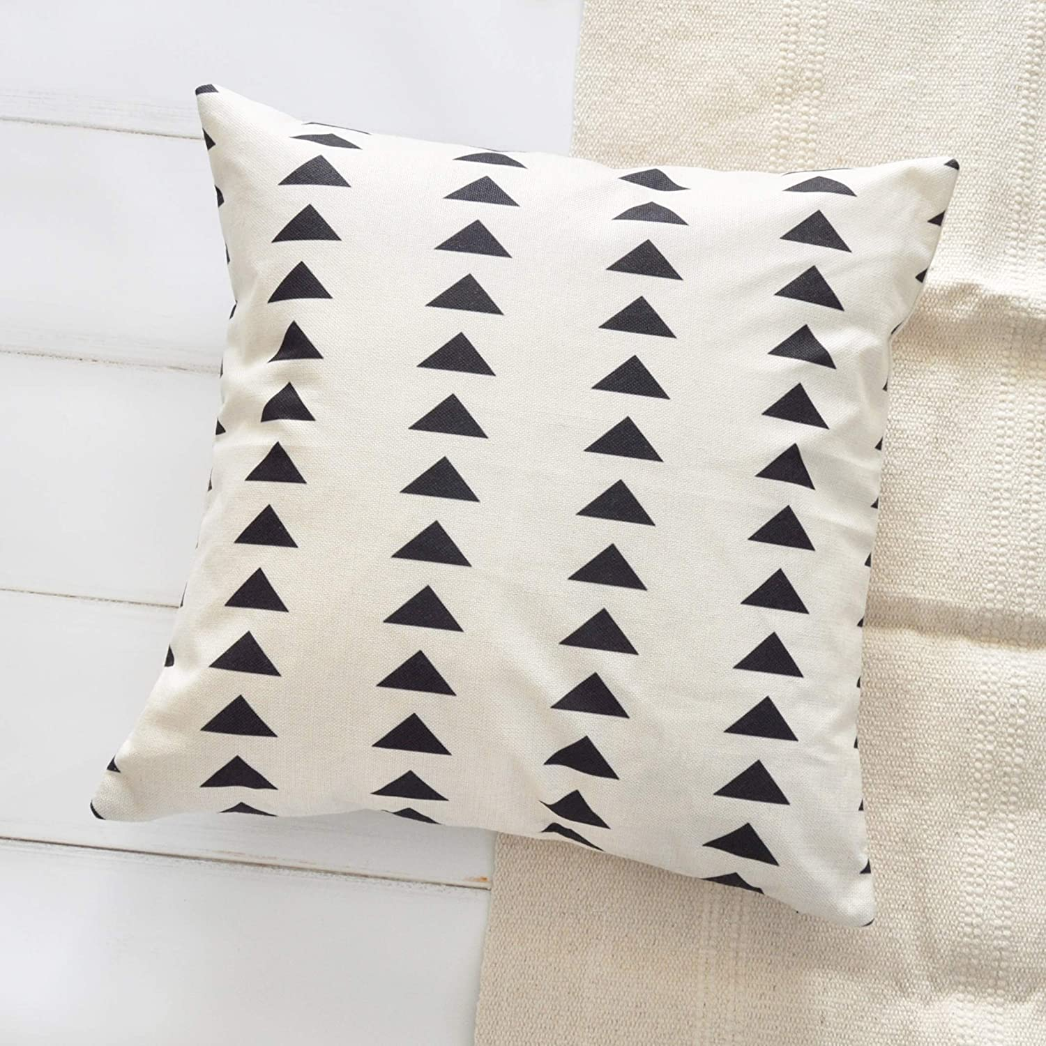 PANDICORN Set of 2 Boho Black and Cream/Off White Pillow Covers for Home Décor, African Mudcloth Throw Pillow Cases for Couch Sofa, Geometric Black Triangle, 18 x 18 Inch