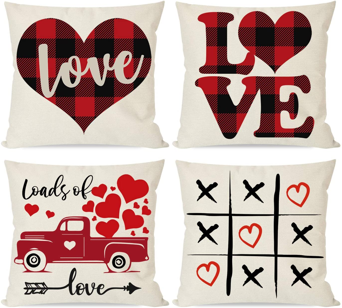 PANDICORN Set of 4 Valentines Day Pillow Covers 18x18, Red Black Buffalo Plaid Check Hearts Love