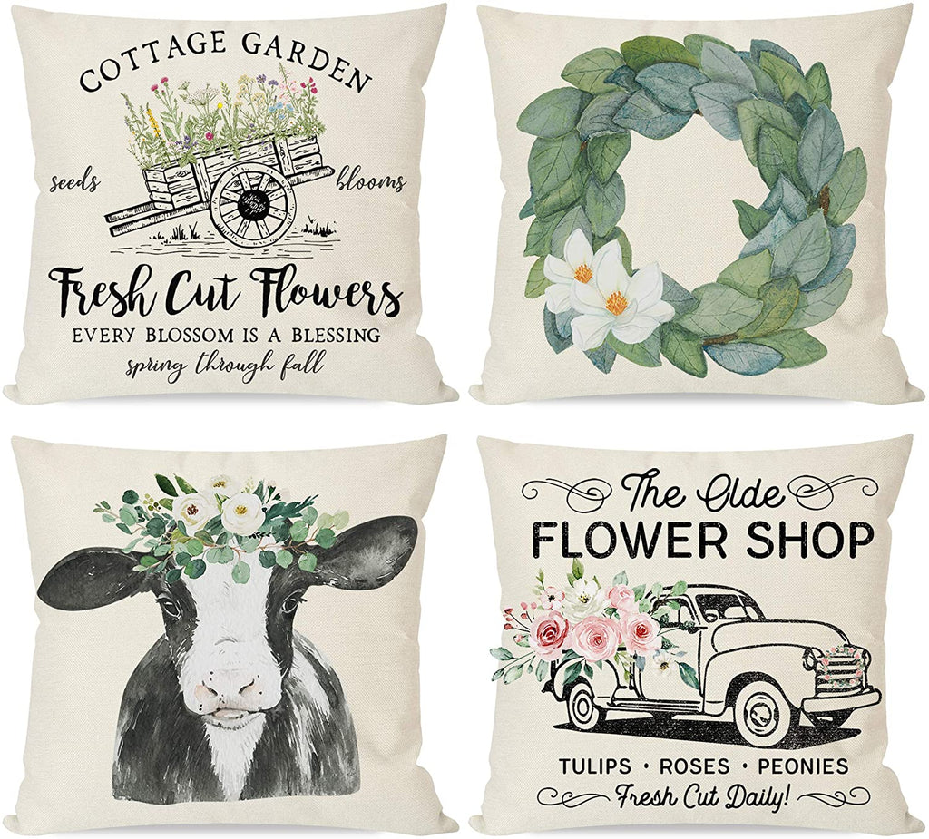 Spring Pillow Covers 18x18 Set of 4, Farmhouse Magnolia Wreath Country Cow, Vintage Flower Floral Truck