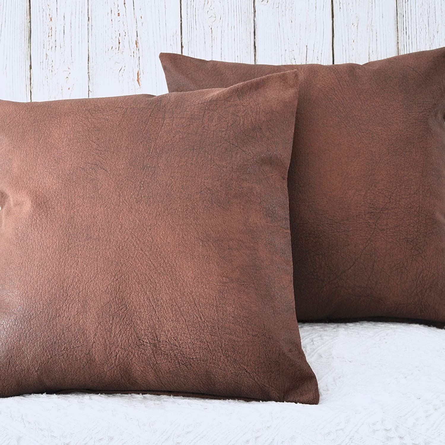 PANDICORN Brown Faux Leather Pillow Covers for Rustic Home Décor 18x18