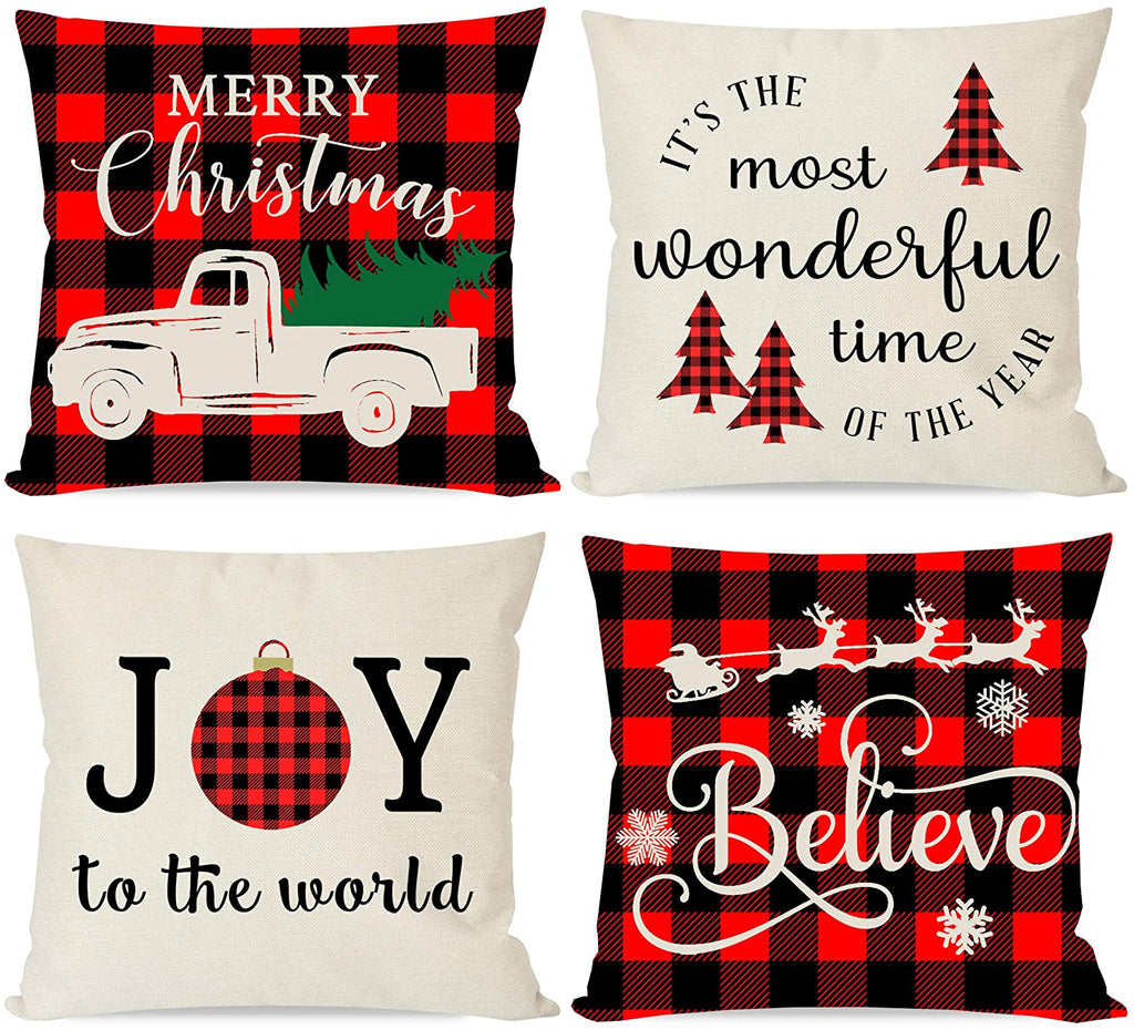 Christmas Pillows Covers 18x18 Set of 4 for Christmas Decor, Black and Red Buffalo Check Plaid, Trees Truck