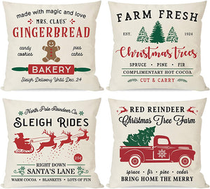 PANDICORN Farmhouse Christmas Pillows Covers 18x18 Set of 4, Red and Green Christmas Trees Truck, for Home Couch Outdoor Indoor