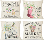 Farmhouse Spring Pillow Covers 18x18 Set of 4, Country Flower Market Floral Bicycle Butterfly Boots