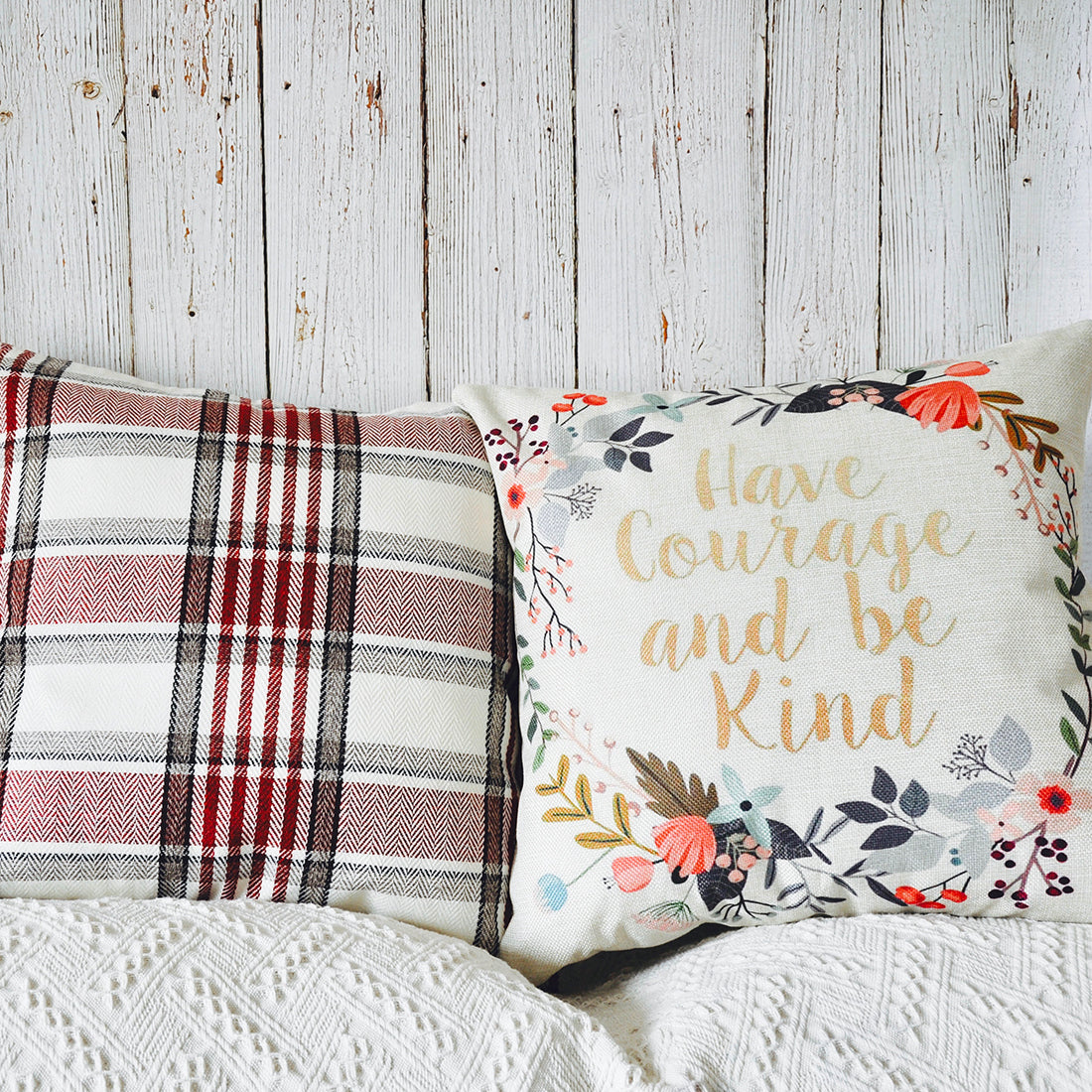 PANDICORN Set of 2 Farmhouse Decorative Throw Pillows Covers, Rustic Red Black White Buffalo Plaid Throw Pillow Cases with Inspirational Quotes for Women Teen Girls, Have Courage Be Kind, 18x18