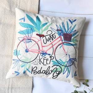 PANDICORN Set of 2 Spring Summer Farmhouse Decorative Throw Pillow Covers, Vintage Bicycle Throw Pillow Cases for Outdoor Porch, Watercolor Palm Leaves, Blue White Striped Plaid, 18 x 18
