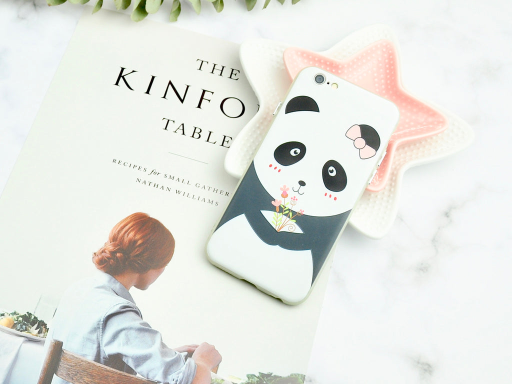 200a81cf9816 Adorable Panda holding flowers Slim iPhone Case