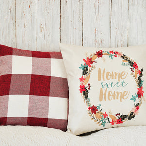 PANDICORN Set of 2 Farmhouse Decorative Throw Pillow Covers, Rustic Throw Pillows Cases with Words Home Sweet Home, Red White Buffalo Check Cushion Cover for Couch Sofa, 18x18