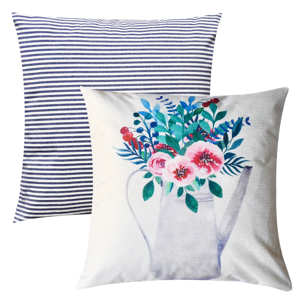PANDICORN Set of 2 Spring Summer Farmhouse Decorative Throw Pillow Covers, Retro Floral Throw Pillow Cases for Couch Outdoor, Watercolor Pink Flower Leaf, Blue White Striped Plaid, 18x18