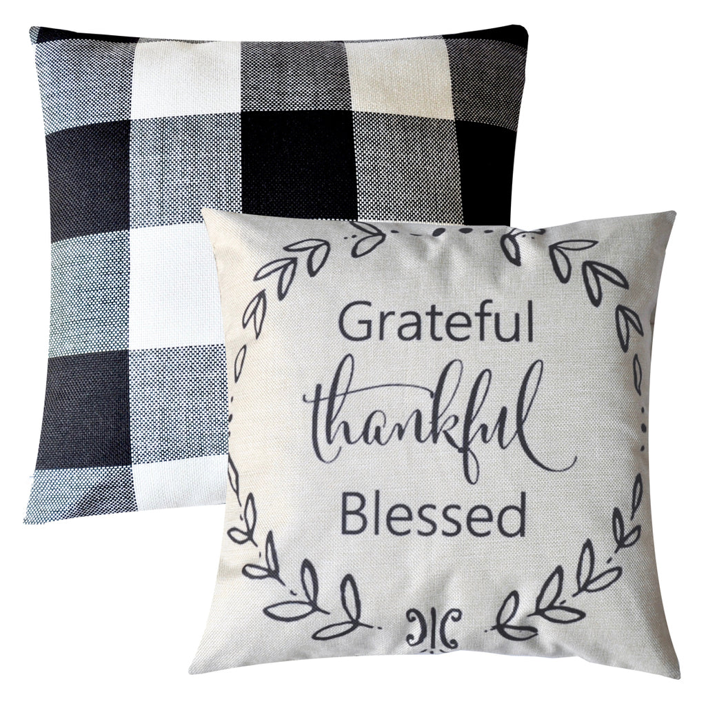 PANDICORN Set of 2 Farmhouse Decorative Throw Pillows Covers, Rustic Linen Throw Pillow Cases with Inspirational Saying Grateful Thankful Blessed, Black and White Buffalo Check Pillowcases, 18 x 18