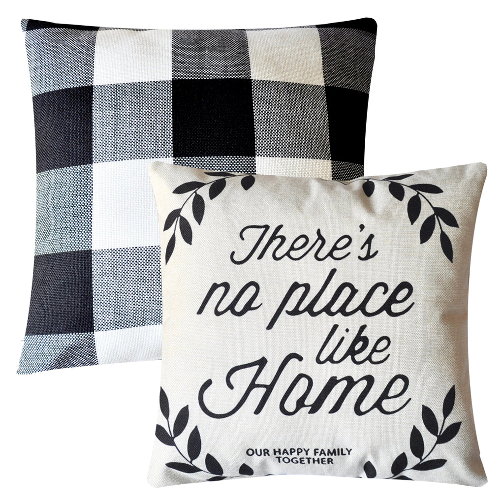 PANDICORN 2 Pack Farmhouse Decorative Throw Pillow Covers, Rustic Linen Throw Pillows Cases with Inspirational Saying Happy Home, Black and White Buffalo Check Pillowcases Cushion for Sofa Bed, 18x18