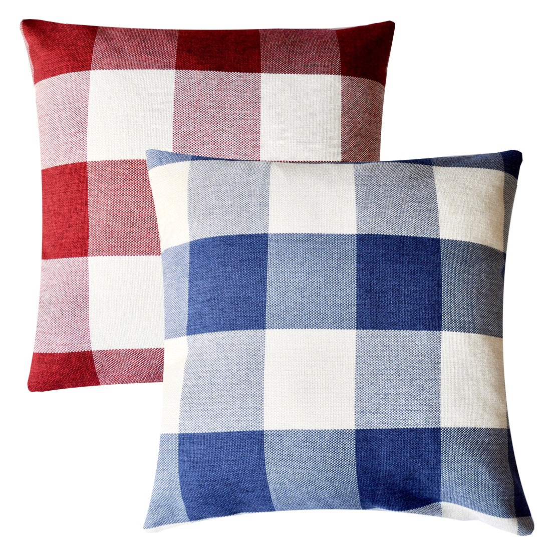Awe Inspiring Pandicorn 2 Pack Farmhouse Decorative Throw Pillow Covers Blue And White Plaid Textured Throw Pillows Cases Red And White Buffalo Check Pillowcases Ibusinesslaw Wood Chair Design Ideas Ibusinesslaworg