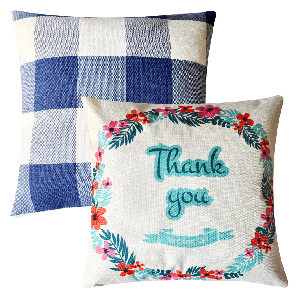 PANDICORN Square Decorative Throw Pillow Covers Set of 2, Rustic Linen Pillows Cases with Words Thank You, Blue and White Buffalo Check Cushion for Couch, Gift for Friends Couples, 18 x 18 Inch