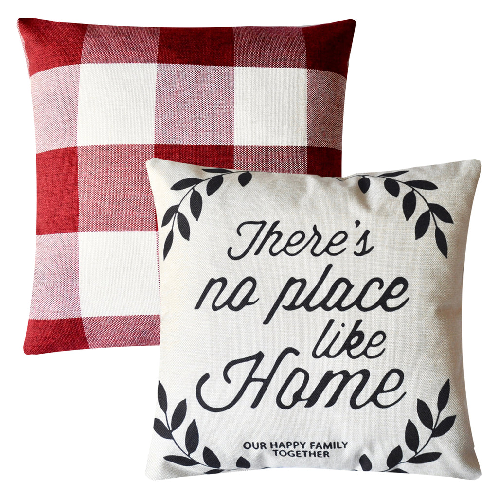 PANDICORN Farmhouse Decorative Pillows Covers Set of 2, Rustic Linen Throw Pillow Cases with Inspirational Quotes Happy Home, Red and White Buffalo Check Pillowcases Cushion for Couch Outdoor, 18x18
