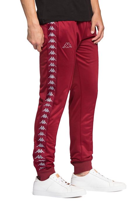 Kappa 222 Banda Rastoria Slim Red Bordeaux Grey Pants