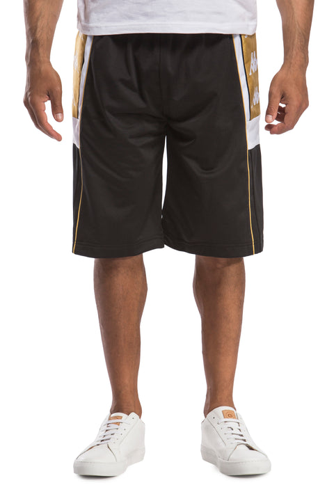 222 Banda 10 Arwell Black White Gold Shorts - Front