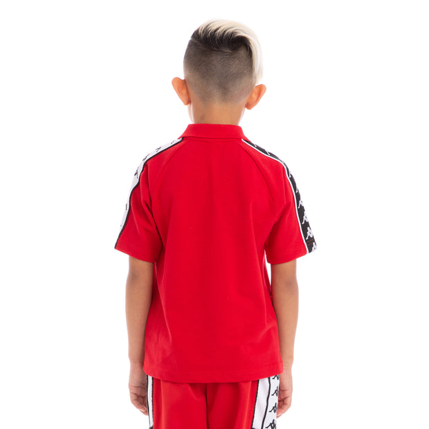 Kappa Kids 222 Banda Calsi Alternating Banda Red Black White Polo