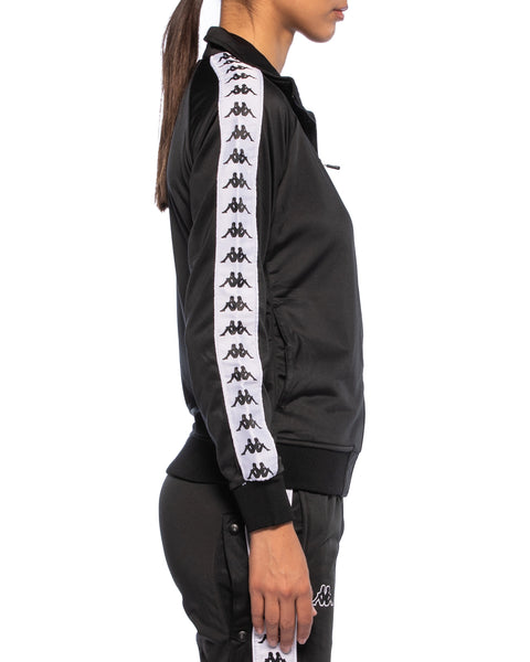 Kappa Womens 222 Banda Wanniston Black White Slim Jacket - Side