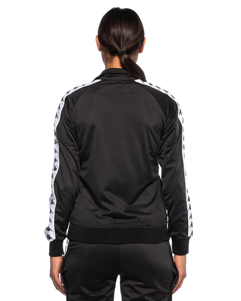 Kappa Womens 222 Banda Wanniston Black White Slim Jacket - Back