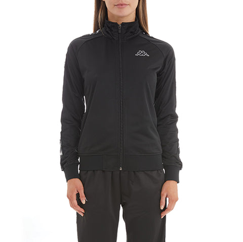 Kappa Womens 222 Banda Wanniston Black Black Slim Jacket - Front