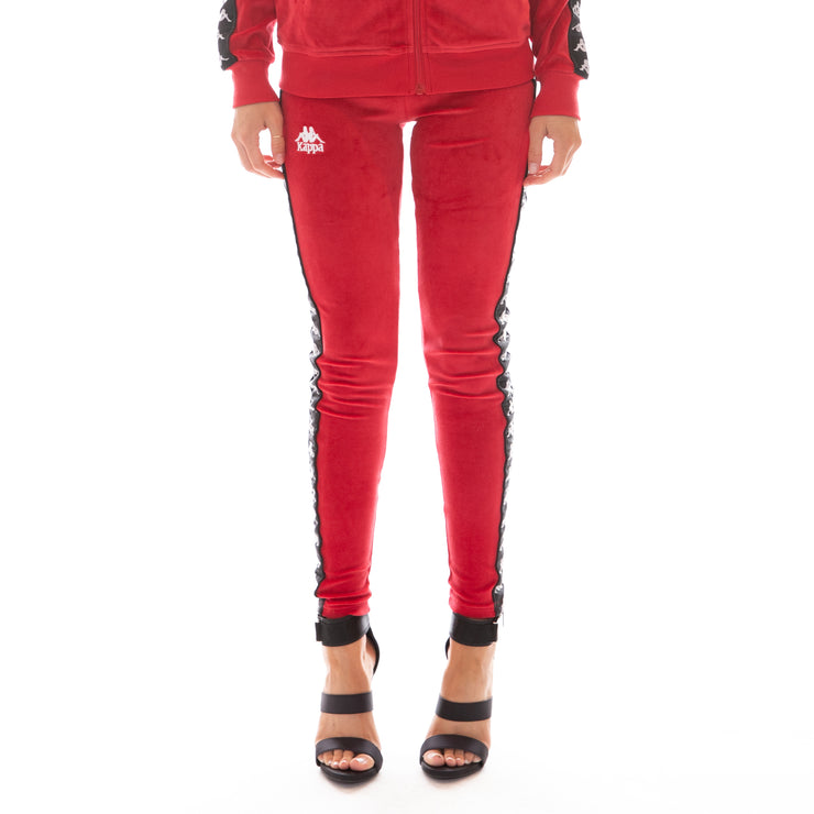 222 Banda Ammu Velour Leggings - Red Black