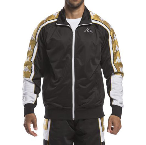 Kappa Mens 222 Banda 10 Ahran Black Gold Jacket - Front