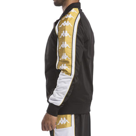 Kappa Mens 222 Banda 10 Ahran Black Gold Jacket - Side