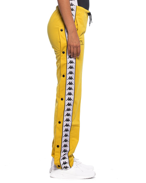 Kappa Womens 222 Banda Wastoria Snaps Mustard Yellow Slim Track Pant - Side