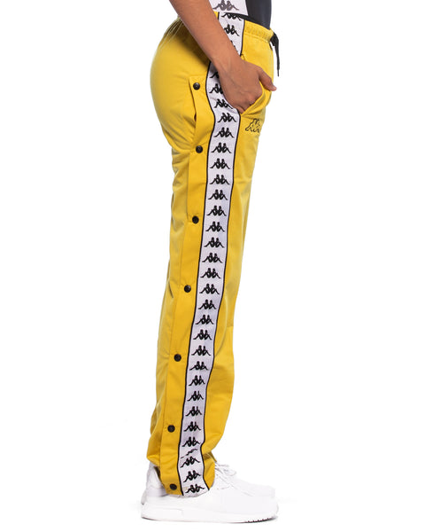 Kappa Womens 222 Banda Wastoria Snaps Mustard Yellow Slim Track Pant - Side 2