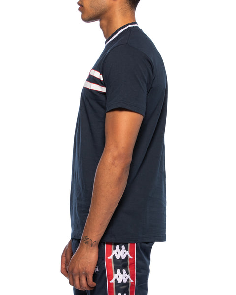 Kappa Mens Alessio Stripe Logo Navy T-Shirt - Side