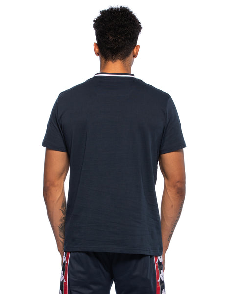 Kappa Mens Alessio Stripe Logo Navy T-Shirt - Back