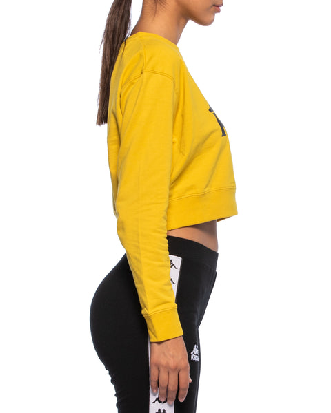 Kappa Womens Authentic Bammbamm Mustard Yellow Crew Sweater - Side