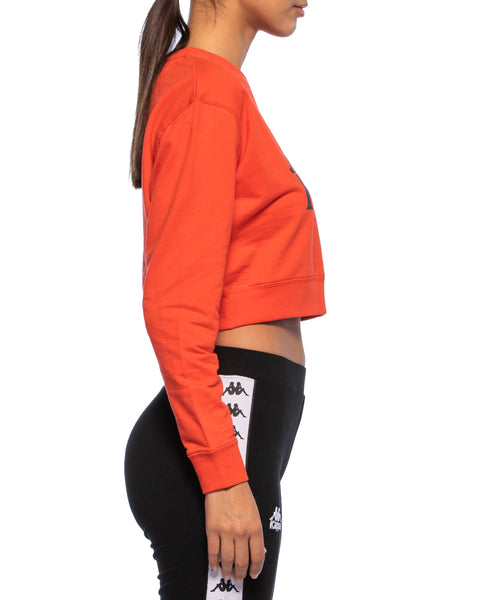 Kappa Womens Authentic Bammbamm Red Orange Crew Sweater - Side