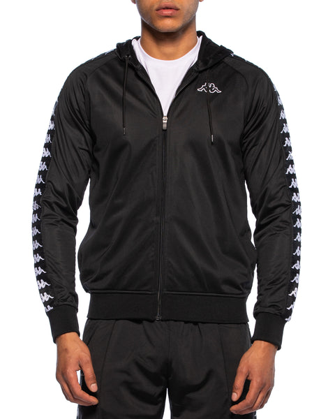 Kappa Mens 222 Banda Zudai Black Hooded Jacket - Front