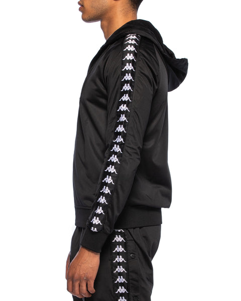 Kappa Mens 222 Banda Zudai Black Hooded Jacket - Side