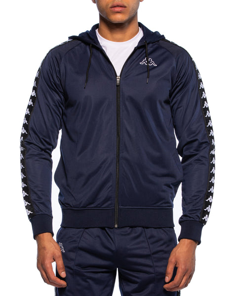 Kappa Mens 222 Banda Zudai Blue Marine Hooded Jacket - Front