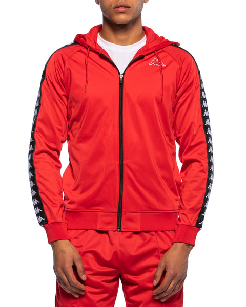Kappa Mens 222 Banda Zudai Red Hooded Jacket - Front