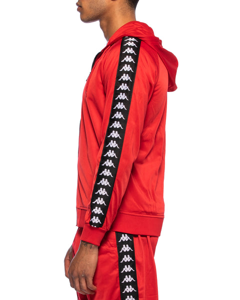 Kappa Mens 222 Banda Zudai Red Hooded Jacket - Side