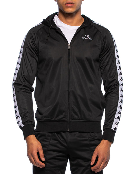 222 Banda Zudai Slim Black White Hooded Jacket