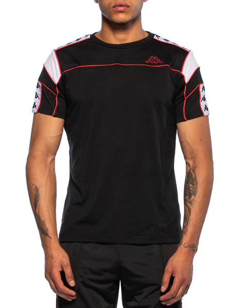 Kappa Mens 222 Banda Arar Black Red Orange T-Shirt - Front