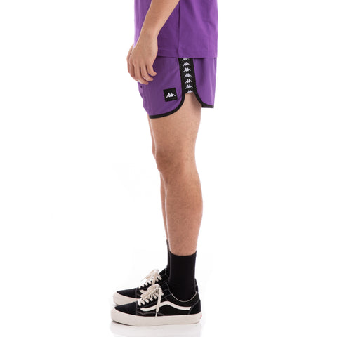 Kappa Authentic Agius Alternating Banda Violet Black White Swim Shorts