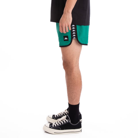 Kappa Authentic Agius Alternating Banda Green Black White Swim Shorts